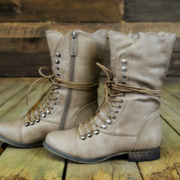 Emory Scalloped Lace Up Military Combat Boots Beige