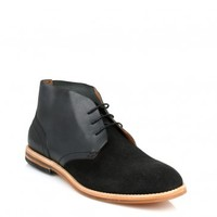 HUDSON MENS BLACK HOUGHTON CALF SUEDE & LEATHER BOOTS