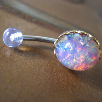 Pink Opal Belly Button Jewelry Stud Ring- Navel Piercing Bar Barbell