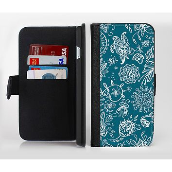 The Blue & White Floral Sketched Lace Patterns v21 Ink-Fuzed Leather Folding Wallet Credit-Card Case for the Apple iPhone 6/6s, 6/6s Plus, 5/5s and 5c
