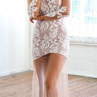 White Floral Lace Sheer Mesh Round Neck Long Sleeve Fitted Maxi Dress