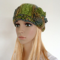 Hand knit hat - crochet flower - multi color knit cloche  in greens and browns - chunky knit