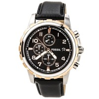Fossil FS4545 Mens Dean Black Dial Black Leather Strap Chronograph Watch