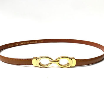 OROTON!!! Vintage 1970s 'Oroton' tan leather waisted skinny belt with gold clasp buckle