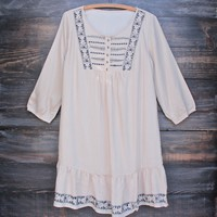 FINAL SALE - embroidered peasant shift dress