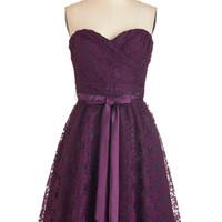 ModCloth Long Strapless A-line Dancing Upon Air Dress in Plum