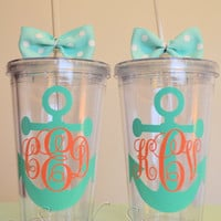 Monogrammed Anchor Acrylic Tumbler. 16 ounce cups. Bridesmaid gifts