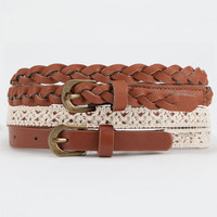 2 Piece Crochet/Braided Skinny Faux Leather Belts Cognac  In Sizes