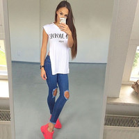Fashion Women Vintage High Waist Holes Ripped Jeans Denim Blue Trousers Casual
