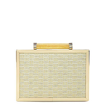 Kate Landry Lux Straw Box Frame Clutch - Champagne