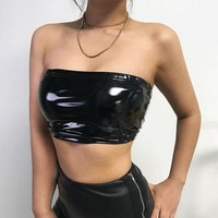 Women Simple Fashion PU Leather Sleeveless Strapless Strap Small Vest Crop Tops Wrap Chest