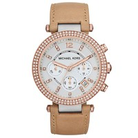 Michael Kors MK5633 Womens Parker Chronograph Two Tone Steel Leather Strap Watch
