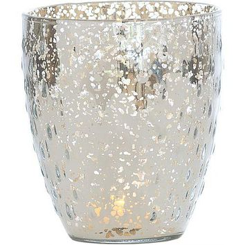 (Discontinued) Vintage Mercury Glass Candle Holder (5.25-Inch, Large Deborah Design, Silver) - For Home Decor, Party Decorations, and Wedding Centerpieces (Estimated Arrival: 7/30/21)