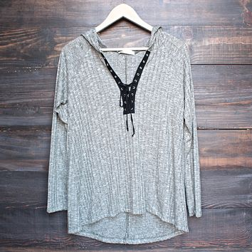 Lace Up Front Light Weight Sweater Shirt