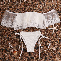 CUTE LACE TWO PIECE OFF SHOULDER BIKINIS BATH SUIT SWIMWEAR