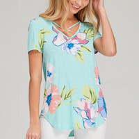 Meet Me in Miami Floral Top - Mint