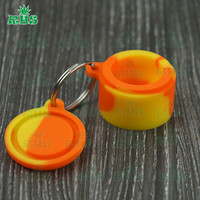 10PC Small Dual Color Silicone Containers with Keychain - 6ml