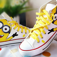 Spring Children Minions Cartoon Kids Shoes Canvas Solid Color  Boy Shoes Yellow Flats White Girls Shoes Fashions High sneakers