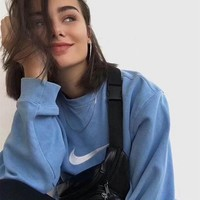 NIKE 17AW Blue Round-neck Pullover Sweater