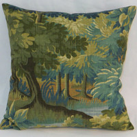"Green Forest Pillow 17"" Square Trees and Leaves Robert Allen Scenic Flora in Tapestry Verdure Blue Olive Gold Brown Linen Blend  Ready Ship"
