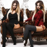 Women V-Neck Long Sleeve Sweater Pullover Stretch Bodysuit Leotard Knit Lady Tops Bold Mysterious Style Attractive Bodysuits