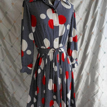 """ON SALE 60s 70s Dress //  Vintage 60s 70s Red White Blue Cotton Dress Polka Dot with Pleated Skirt by Spectator Size M 27"""" waist"""