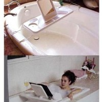 Lazy Day Bath Tray And Bath Caddy with built in Wine Glass Holder,Soap holder,and Book Prop And Expandable Handles