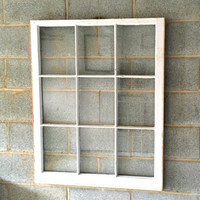 """Vintage 9 Pane Window Frame - 32W"""" x 40L"""", White, Rustic, Antique, Wedding, Beach Decor, Photos, Pictures, Engagement, Holiday, Business"""