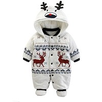 Baby Rompers Winter Thick Warm Baby boy Clothing Long Sleeve Hooded Jumpsuit Kids born Outwear for 0-12M