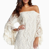 2014 Women Lace mini Dress Sexy Slash Neck off the Shoulder Butterfly Sleeve beach dress = 5617109505