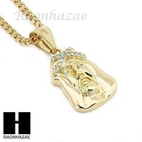 "MENS STAINLESS STEEL JESUS FACE CZ PENDANT 24"" CUBAN NECKLACE SET NP004"