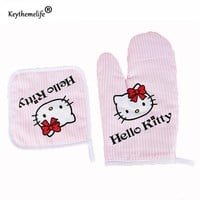 Keythemelife 2pcs/SET Hello kitty Kitchen Cooking Microwave oven Gloves High Temperature Cotton Non-slip insulation Gloves E0
