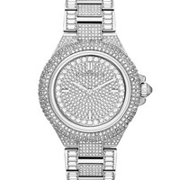 Michael Kors Mid-Size Silver Color Camille Three-Hand Glitz Watch