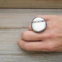 Soldered White Pebble Ring / Adjustable / Natural Stone