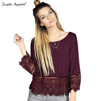 3/4 sleeve slash neck lace blouse Women OL loose summer blouses shirt Chic crochet renda blusas tops
