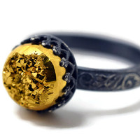 Gold Druzy Ring, Oxidized Silver Ring, Gold Drusy Agate, Black and Gold Ring, Engagement Ring