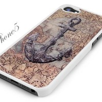 White Snap-On iPhone 5 Cover Case. ANCHOR WITH VINTAGE PIRATE MAP Logo Design for iPhone 5. Height: 4.95 Inches X Width: 2.31 Inches X Thickness: 0.35 Inches. Personalized Design Is Available with a Minimum of 20 Pcs Orders.
