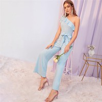 Blue Solid One Shoulder Ruffle Foldover Party Jumpsuit With Belt Women Cap Sleeve Wide Leg Elegant Ladies Jumpsuits