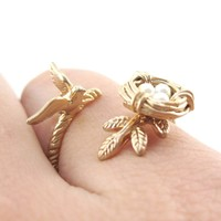 Sparrow and Bird Nest on A Branch Wrap Around Adjustable Ring in Antique Gold