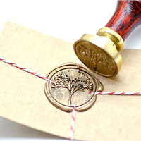 Tree Nature Forest B20 Gold Plated Wax Seal Stamp x 1