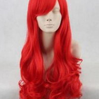 Little Mermaid Princess Red Long Curly Synthet Cosplay Wig
