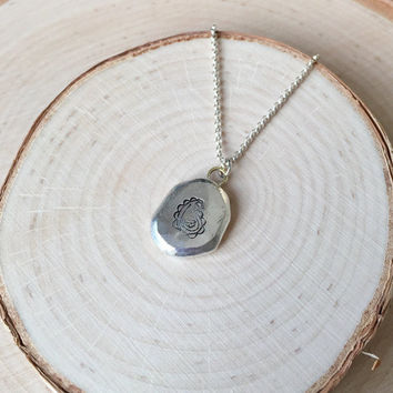 Handmade, Organic Sterling Silver Pendant with Paisley Stamp and .925 Rolo Chain, Faceted Pebble Pendant, Layering Necklace, Two-Tone