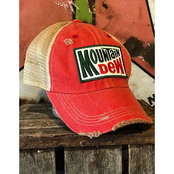 Mountain Dew Old School Hat - Distressed Red Snapback