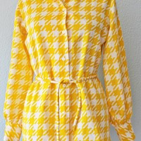 Vintage 70's Sunshine Yellow + Houndstooth Blouse