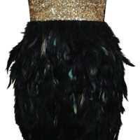 Bella Gold Sequin Feather Dress - Black