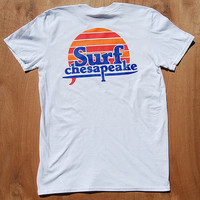 Surf Sunset Shirt | Retro Surf Shirt | Chesapeake | Surf Sun | white