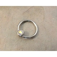 16 Gauge CBR Cartilage Hoop Earring with Aurora Borealis Crystal