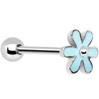 Light Blue Friendly Flower Barbell Tongue Ring | Body Candy Body Jewelry