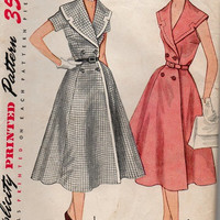 50s Simplicity Vintage Sewing Pattern Full Skirt Tea Garden Party Dress Double Breasted Button Front Wide Notched Shawl Collar Uncut Bust 37