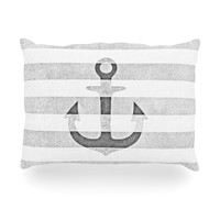 "Monika Strigel ""Stone Vintage Anchor Gray"" White Grey Oblong Pillow"